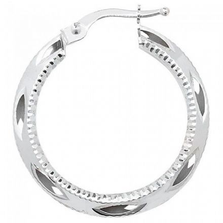 Just Gold Earrings -9Ct Dia Cut Hoop Earrings, ER656W